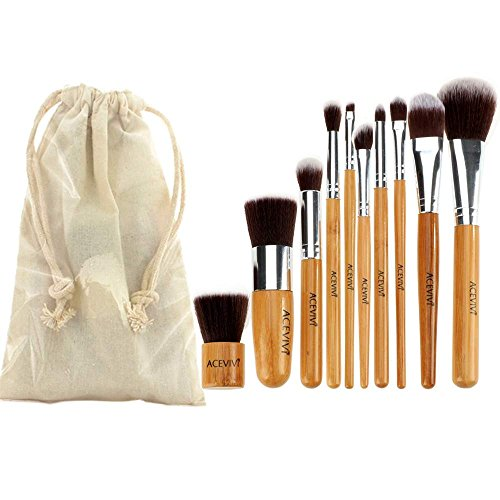 ACEVIVI 10 pcs Eco-friendly Bamboo Wooden Handle Makeup Brushes