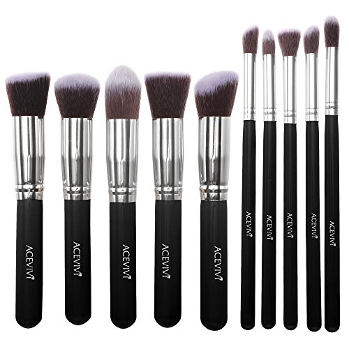 ACEVIVI Classic Black 10 pcs Essential Kit Makeup Brush