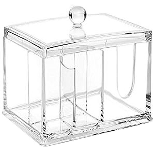 Clear Acrylic Organizer, Storage Box for Cotton Swabs, Q-Tips