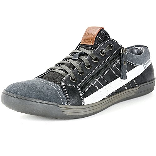 Alpine Swiss Mens Valon Gray Suede Trim Low Top