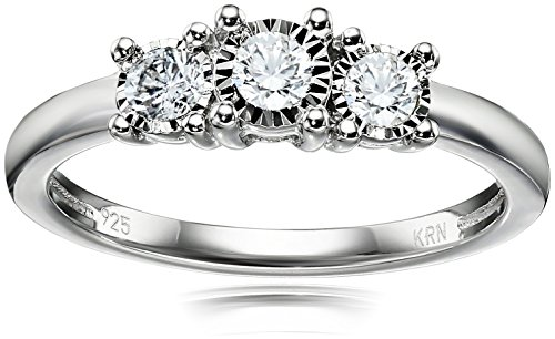 $249.99 Sterling Silver 3-Stone Diamond Engagement Ring (1/4 cttw, I-J
