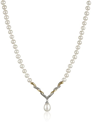 $146.52 Sterling Silver and 14k Yellow Gold Diamond Accent Freshwater