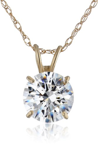 $40.07 10k Yellow Gold Solitaire Pendant Made with Round-Cut Swarovski