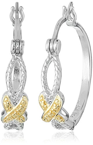 $28.60 18k Yellow Gold Plated Sterling Silver Two-Tone Crossover Hoop