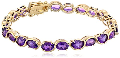 $84.12 18k Yellow Gold-Plated Sterling Silver and African Amethyst Tennis