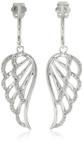 $223.03 10k White Gold Diamond Angel Wing Earrings (1/5 cttw
