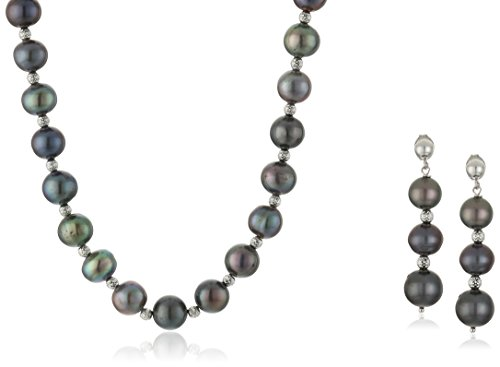 $65.75 Sterling Silver Beaded Enhanced Black Freshwater Cultured Pearl Necklace
