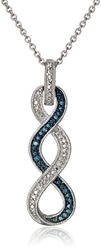 $40.96 Sterling Silver Blue and White Diamond Twist Pendant Necklace