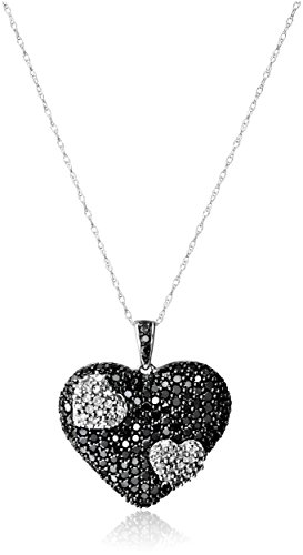 $521.52 10k White Gold Black and White Heart Diamond Pendant