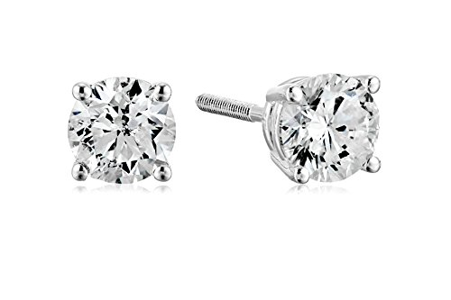 14k White Gold Diamond with Screw Back and Post