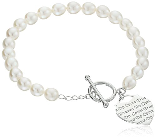 $58.72 AuraPearl Sterling Silver 6-7mm White Baroque Freshwater Cultured Pearl