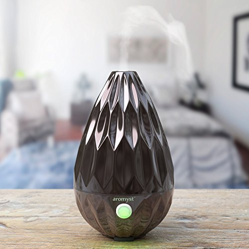 Aromyst Ultrasonic Glass Essential Oil Aromatherapy Diffuser, Black
