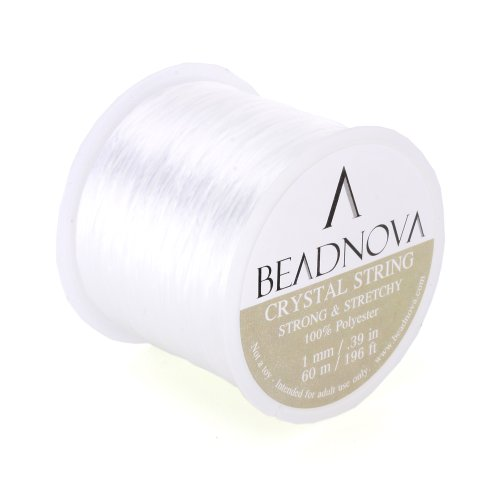 BEADNOVA 1mm Elastic Stretch Polyester Jewelry Bracelet Crystal String