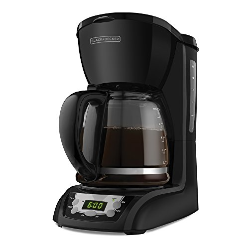 BLACK+DECKER DLX1050B 12-Cup Programmable Coffeemaker with Glass Carafe, Black