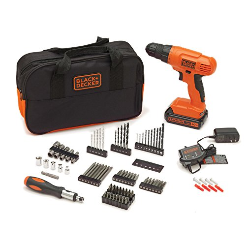 BLACK+DECKER BDC120VA100 20-Volt MAX Lithium-Ion Drill Kit with 100