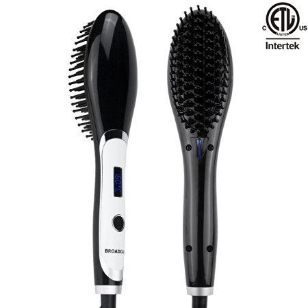 BROADCARE Hair Straightener Brush Anion Detangling Frizz-free Electric Straightening