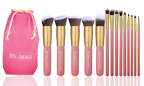 BS-MALL New 14 Pcs Makeup Brushes Premium Synthetic Kabuki