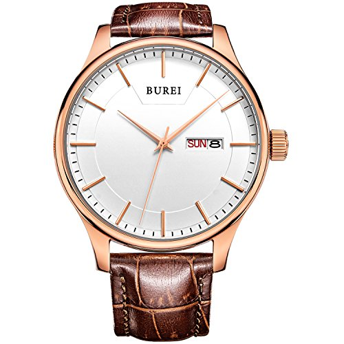 BUREI Men's Day and Date Brown Calfskin Leather Wrist
