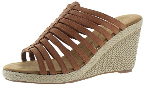 $39.99 Bearpaw Flora Women's Wedge Strappy Sandals Espadrille Brown Size