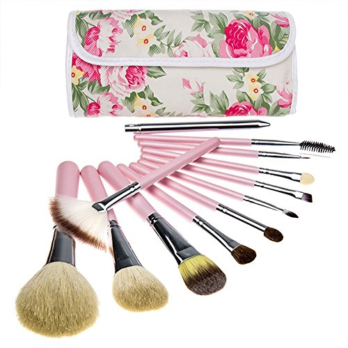 BeautyKate Pro 12 Pcs Goat Hair Makeup Cosmetics Brushes