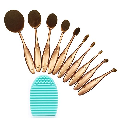 BeautyKate 10 Pcs Oval Toothbrush Makeup Foundation Brushes Sets