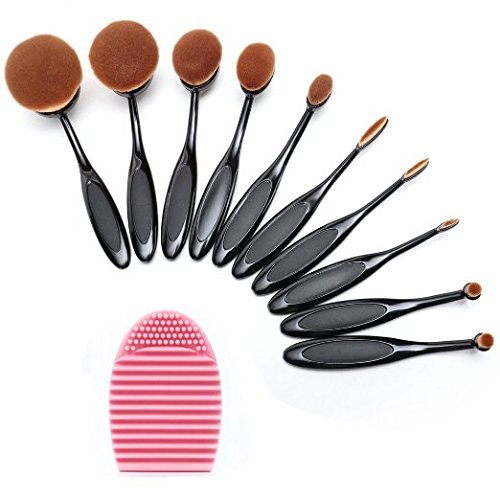 BeautyKate Set of 10 pcs Makeup Brush Oval Toothbrush