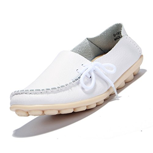 CIOR Women's Genuine Leather Loafers Casual Moccasin Driving Shoes