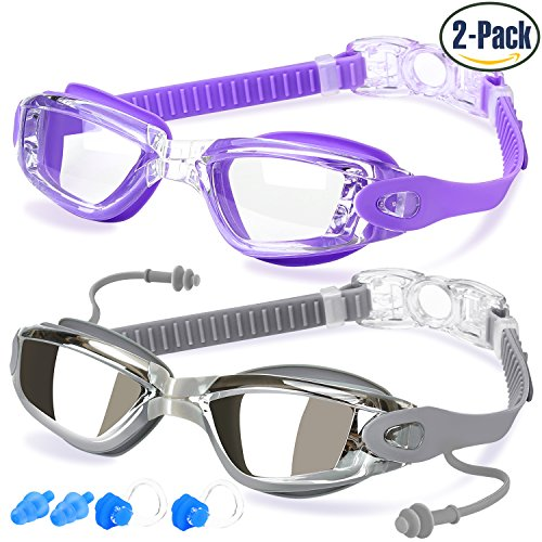 Swim Goggles, Pack of 2, Swimming Goggles for Adult