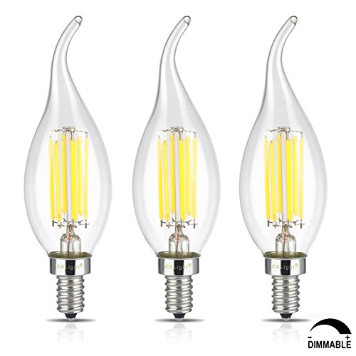 CRLight 6W Dimmable LED Filament Candle Light Bulb, 6000K