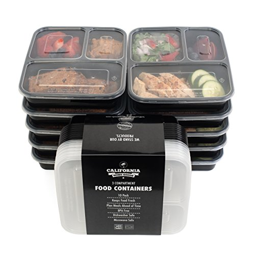 California Home Goods 3 Compartment Reusable Food Storage Containers