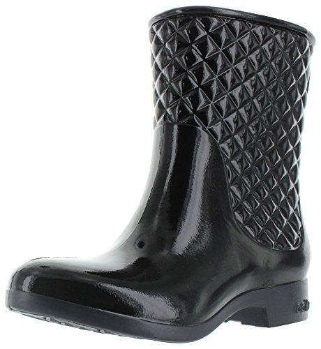 Ccilu Drift Women's Quilted Equestrian Short Rain Boots Black