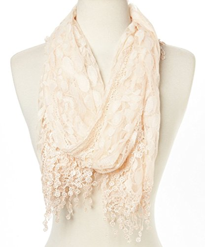 Cindy and Wendy Lightweight Soft Leaf Lace Fringes Scarf