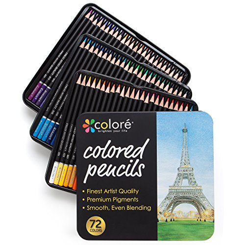Colore Colored Pencils - 72 Premium Pre-Sharpened Color Pencil