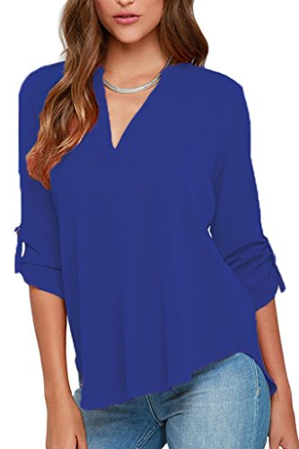 Dokotoo Womens Casual Chiffon Ladies V-Neck Cuffed Sleeve Blouse