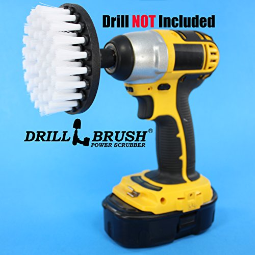 4 inch Drill Brush Soft Bristle White Quick Change
