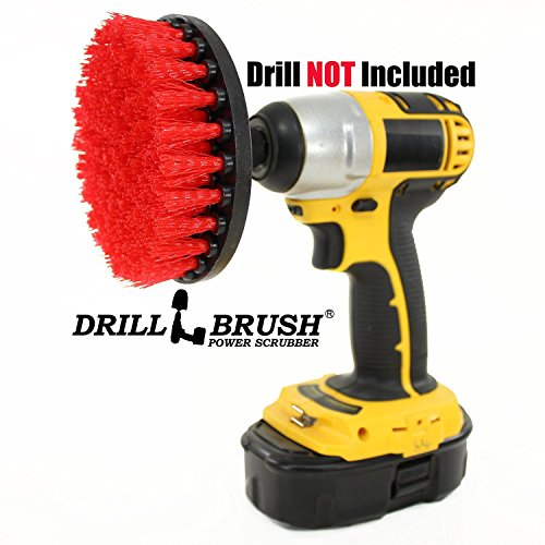 5 inch Diameter Red Stiff Bristled Drill Powered Cleaning