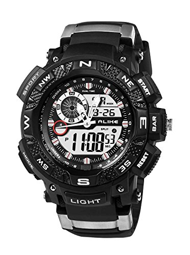 ECOOPRO Sport Men\'s AK1389B Digital-Analog Watch Versatile Black Rubber