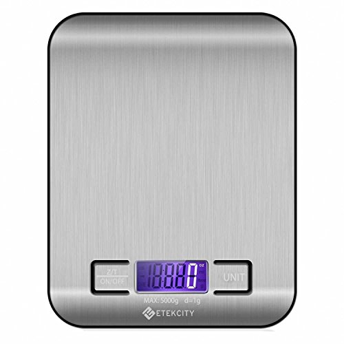 Etekcity Digital Multifunction Food Kitchen Scale,11lb 5kg, Silver, Stainless