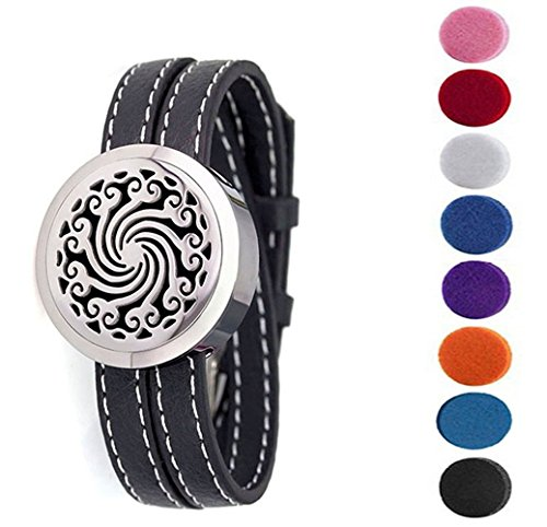 FLYMEI® Aromatherapy Essential Oil Diffuser Bracelet with Leather Band