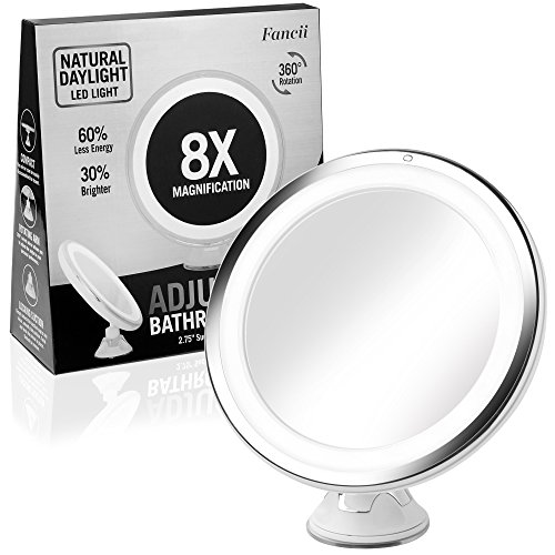 Fancii 6 inch Lighted Makeup Mirror with 8X Magnification