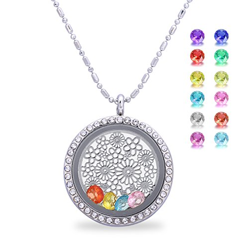 Flower Birthstone Crystal Necklace - Floating Charm Living Memory