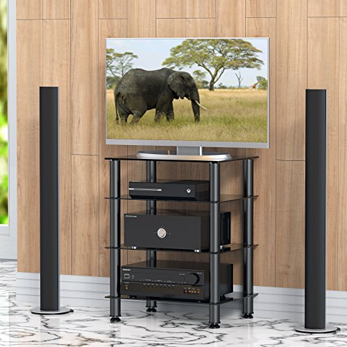 Fitueyes 4-tier Media Component Stand Audio Cabinet with Glass