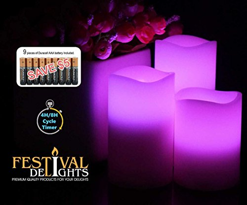 Flameless Candles By Festival Delights®- Real Wax, 9pc Duracell®