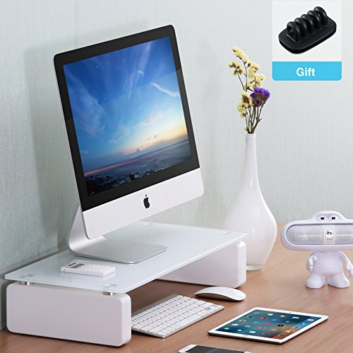 Fitueyes Computer Monitor Riser with White Glass Shelf and