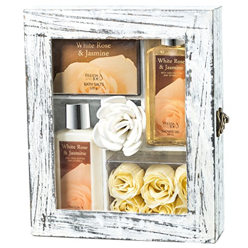 White Rose Jasmine Spa Gift Set in Wood Curio,190ml