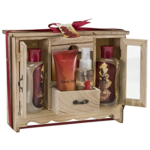 French Vanilla Spa Bath Gift Set in Natural Wood