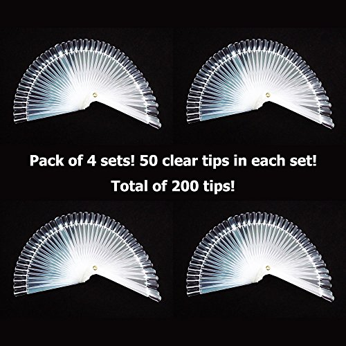 Pack of 4 - GOGOONLY 50 Clear Tips Fan-shaped
