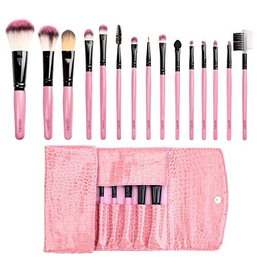 Gisala Professional 15pcs Makeup Brush Set Foundation Mascara Lip