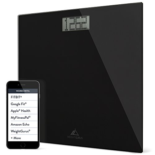 Weight Gurus Black Digital Glass Bathroom Scale, Large Display