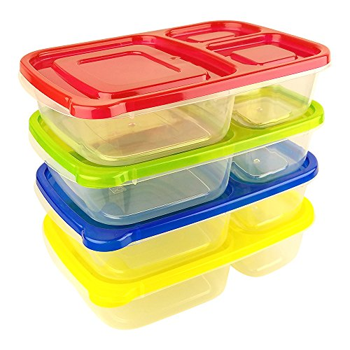 Green Direct 3 Compartment Lunchbox Containers (4 Pack) Portion